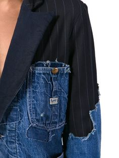 Shop Greg Lauren patchwork distressed denim blazer in The Parliament from the world\'s best independent boutiques at farf Denim Blazer, Denim On Denim, Distressed Denim, Denim Suit, Fashion Details, Look Fashion, High Fashion, Fashion Design, Luxury Fashion