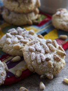 These gluten-free Italian pignoli cookies, adapted from Lidia Bastianich, are a great holiday cookie full of almonds and pine nuts! My Recipes, Cookie Recipes, Baking Recipes, Recipies, Favorite Recipes, Pignoli Cookies, Almond Cookies, Lidia Bastianich, Flourless Chocolate Cakes
