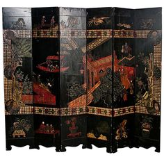 A 19th Century Chinese Lacquered Coromandel Screen | From a unique collection of antique and modern furniture at https://www.1stdibs.com/furniture/asian-art-furniture/furniture/