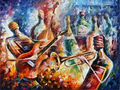 Bottle Jazz by Leonid Afremov by Leonidafremov