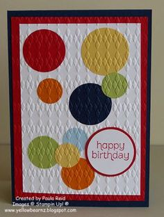 handmade card … like the arrangement of the punched circles … embedded embossing technique … birthday greeting in a circle … Source: steamboatcook Kids Birthday Cards, Handmade Birthday Cards, Greeting Cards Handmade, Birthday Images, Embossing Techniques, Karten Diy, Embossed Cards, Masculine Cards, Kids Cards