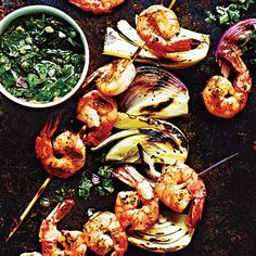 Shrimp and Fennel Kebabs with Italian Salsa Verde | CookingLight.com