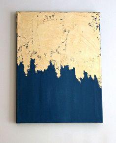 Modern art acrylic - gold leaf painting modern art acrylic painting gift for her abstract painting gold foil art blue and gold painting Shabby Chic Artwork, Feuille Aluminium Art, Art Feuille D'or, Art Blue, Gold Leaf Art, Art Diy, Kunst Poster, Foil Art, Painted Leaves