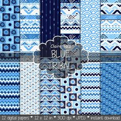 """Tribal digital paper: """"BLUE TRIBAL"""" with tribal patterns and tribal backgrounds, arrows, feathers, leaves, chevrons in blue"""