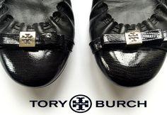 "Tory Burch ""Romy"" Black Leather Cap Toe Ballet Flats"
