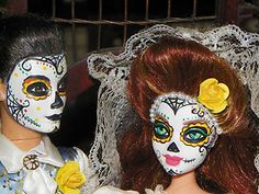 OOAK Day of The Dead Barbie Ken Doll Candy Button Sugar Skull Macabre Artist   eBay