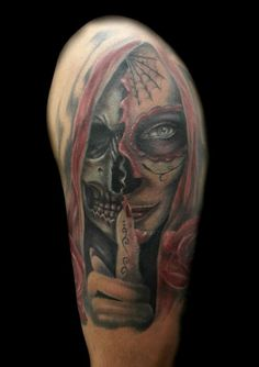 www.valestattoo.com #valestattoo #tattoo #tatuaggio #donnachicano #madremuerte #catrina #teschio #skull #skulls #colortattoo #color #colorart #photooftheday #bestoftheday #pantherablackink #pantherainktattoo #rosa #rose #love