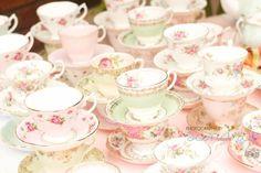 Shabby Vintage High Tea Bridal Shower | Love the mix of tea cups