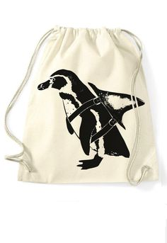 Turnbeutel mit Pinguin-Druck, witziger Jutebeutel / funny gift idea for friends: tote bag with penguin print made by Sloth & Friends via DaWanda.com