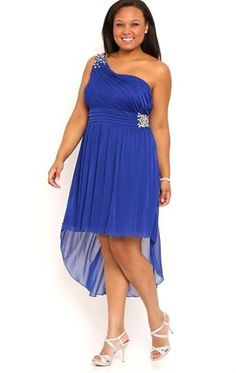 Plus Size One Shoulder High Low #Homecoming Dress with Stone Illusion The Biggest Trends in Homecoming Dresses http://poshonabudget.com/2014/09/the-biggest-trends-in-homecoming-dresses.html via @poshonabudget