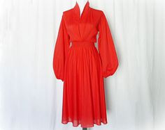 Vintage 70s Red Dress S M Pleated Long Puff Sleeve at PopFizzVintage, $36.00