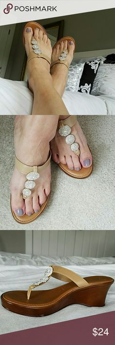 "To Scannell Italian sandals size 8 1/2. Excellent condition.  Just worn a few times.  Very sparkly.  No missing stones. 2.5"" heels. ??????Bundle and save Toscanella Shoes Sandals"