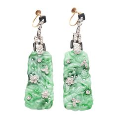 1stdibs | Art Deco platinum, diamonds, engraved jade earrings