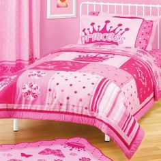 Girl Pink Princess Crown Flower Polka Dot Twin Full Comforter by A. Kdis. $54.95. Reverses to pink polka dots. Microfiber comforter. Reversible pink comforter dimensions: 72'' x 86''. Decorate a girl's room that's fit for a princess. This pink Princess comforter is inspired by all of her wishes but also meets your expectations of design, quality and comfort. The pink Princess comforter reverses to a polka dot pattern, too.