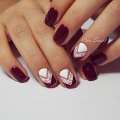 White and merlot red patterned nails