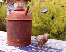 Vintage Metal Gas Can - Antique - Gift Ideas - Industrial Decor - Farm - Truck Tractor - Primitive - Shabby - Garden - Rustic Home Decor