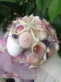 Lavender Sea Shell Bouquet Pink Purple Beach Wedding By BeachBasketBride On Etsy