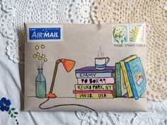 A gallery of mail-art created by me. Mostly snail-mail envelopes on kraft paper, painted in gouache and watercolour.Envelope with address written on book spines In a world of emails and texts, be different and send some unique mail art. Envelope Lettering, Envelope Art, Envelope Design, Mail Art Envelopes, Addressing Envelopes, Addressing Letters, Letter Writing, Letter Art, Mail Design