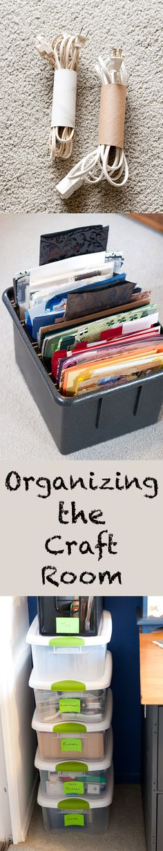 Organizing the Craft Room: like use empty toilet paper rolls (or cut a paper towel roll or wrapping paper roll) to corral extension cords and wires. The rolls can be covered with contact paper to make them prettier and sturdier. Craft Organizer Cabinet, Craft Organization, Closet Organization, Organizing Ideas, Wrapping Paper Crafts, Wrapping Papers, Teen Bedroom Crafts, Craft Room Lighting, Craft Storage Solutions