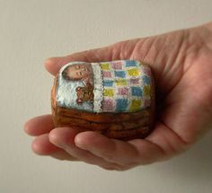 Painted rockBaby in basketWooden by NightOwlFineArt on Etsy
