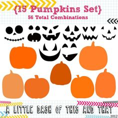 Cute idea for Halloween projects - 15 Pumpkin SVG DXF Set - 56 Combinations