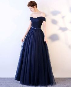 Prom Dress Princess, Dark blue long prom dress, blue tulle evening dress Shop ball gown prom dresses and gowns and become a princess on prom night. prom ball gowns in every size, from juniors to plus size. Senior Prom Dresses, A Line Prom Dresses, Tulle Prom Dress, Cheap Prom Dresses, Prom Party Dresses, Prom Gowns, Long Dresses, Occasion Dresses, Dark Blue Prom Dresses
