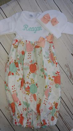 baby girl gown - baby girl going home outfit - take home - newborn gown - layette - baby gown, coral, newborn girl outfit, newborn beanie Newborn Girl Outfits, Newborn Baby Gifts, Baby Girl Newborn, Baby Baby, Baby Outfits, Going Home Outfit, Girls Coming Home Outfit, Baby Sewing Projects, Sewing Ideas