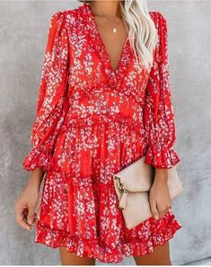 Sexy Back Cut Out Floral Chiffon Dress Women Romantic Boho Holiday Dress Bohemian Summer Short V Neck Beach Party Dresses Ruffle Dress, Chiffon Dress, Boho Dress, Floral Chiffon, Cheap Dresses, Sexy Dresses, Fashion Dresses, Mini Dresses, Sexy Outfits