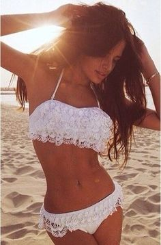 Bandeau White Lace Push Up Bikini Swimwear