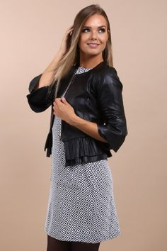 Love this adorable black biker jacket! The ruffle detail on the sleeves is very chic, yet classy. I love this casual street style outfit look with denim, but can dress it up for more formal events or a fun night out. Fashion jackets like this are so versatile. It's a definite staple in my wardrobe! Grab your biker jacket in the Virgo Boutique Store! Check out their other gorgeous luxury women's apparel. #biker #jacket #blazer #womensfashion #fashion #clothing Simple Outfits, Casual Outfits, Fashion Outfits, Womens Fashion, Casual Street Style, Street Chic, Black Biker Jacket, Autumn Clothes, Occasion Wear