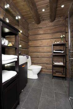 Bath room design rustic log cabins 70 new ideas Log Home Bathrooms, Mountain Cabin Decor, Dere, Cabin Interiors, Wooden House, Rustic Design, Cabin Design, Log Homes, Bathroom Interior