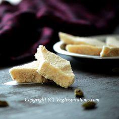 Rava kaju burfi - Indian sweet made with semolina and cashew nuts. Replace Ghee with Coconut Oil or Earth Balance to Veganize.