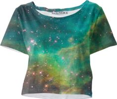 Green Galaxy Sleeved Crop Top - Available Here: http://printallover.me/products/0000000p-green-galaxy-14