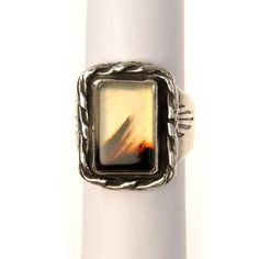 Dendritic Agate Sterling Silver Men's Signet Ring  #estatejewelry