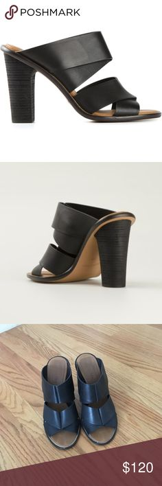 """See by Chloe Ellen Sandal Folded calfskin straps lend trend-right elegance to a cool, contemporary mule set on a tall block heel.  See by Chloe strappy sandal with calf leather upper. 4"""" stacked heel. Open-toe. Crisscross bands across vamp. Cushioned insole; leather and golden-beaded trim. Slip-on style. Rubber sole for traction. Lightly worn See by Chloe Shoes Sandals"""