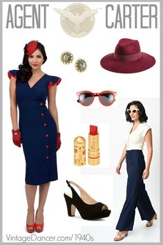 Shop for 1940s style Agent Carter costumes and clothing: dresses, suits, blouse, hat, shoes and accessories.