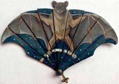 Miniature handpainted bat fan c1900