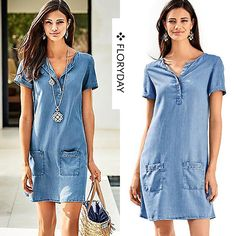 Denim Solid Short Sleeve Above Knee Casual Dresses