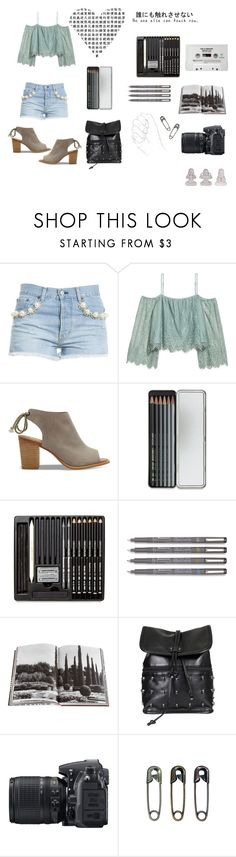 """""""art class"""" by rmorrill on Polyvore featuring Forte Couture, H&M, TOMS, Caran d'Ache, CASSETTE, Assouline Publishing, Gathering Eye, Nikon and Tim Holtz"""