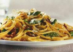 "Linguine with asparagus, party of one, from ""The Pleasures of Cooking for One"" by Judith Jones."