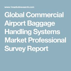 Global Commercial Airport Baggage Handling Systems Market Professional Survey Report