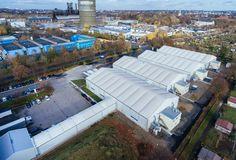Die temporären Hallen sind optimal integriert in die bestehenden Infrastruktur.