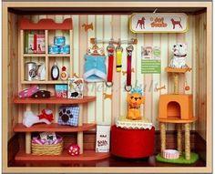 "Dollhouse Miniature 7"" Mini-Deluxe PET SHOP DIY 1:12 w/ furniture,lighting...   eBay"