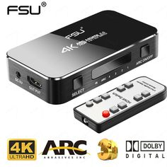 Устройство с поддержкой 4K-разрешения, четырьмя входами и пультом управления. Dolby Digital, Hdmi Cables, Fiber Optic, Hdr, Audio, Ps4 Review, Daily Deals, Easy, Shopping