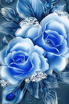 Romancing the Rose. By Artist Unknown. Beautiful Flowers Wallpapers, Beautiful Rose Flowers, Beautiful Gif, Pretty Wallpapers, Exotic Flowers, Blue Flowers, Flower Phone Wallpaper, Butterfly Wallpaper, Flower Wallpaper
