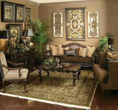 Get fantastic brown living room ideas on brown home decor and decorating with brown with these photos and tips. Tuscan Living Rooms, Formal Living Rooms, Style Toscan, Room Style, Living Room Furniture, Living Room Decor, Dining Room, Tuscany Decor, Brown Home Decor