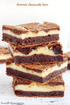 CHEESECAKE BROWNIES Chewy, fudgy brownies swirled with creamy cheesecake in these hard to resist cheesecake brownie bars! Have a glass of milk near by to wash down all their richness. Sweet Desserts, Just Desserts, Sweet Recipes, Delicious Desserts, Yummy Food, Brownie Recipes, Cookie Recipes, Baking Recipes, Dessert Recipes
