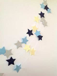 Blue yellow and grey star decoration by katietemple on Etsy, $8.00
