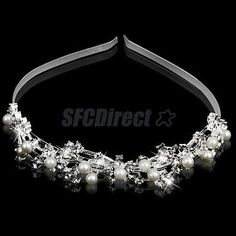 BRIDAL HEADBAND WEDDING PARTY HAIR BAND CRYSTAL WHITE PEARL HEADPIECE TIARA - BUY NOW ONLY 3.92