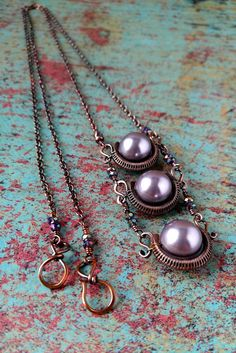 Wire Wrapped Copper Necklace, Mauve Swarovski Pearls, Crystal Accents, Chalice Necklace, Copper Triptych Pendant, Made in Colorado, Door 44 by Door44Jewelry on Etsy
